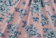 Grey floral on pink cotton lycra