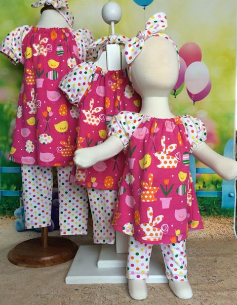 Easter dress, pants and headband set