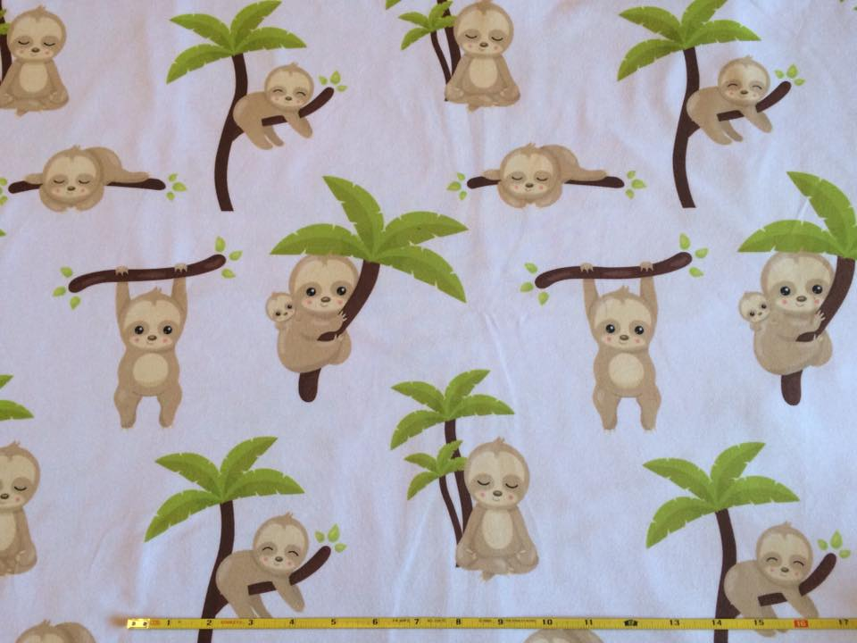 Cute Sloths on Cotton Lycra